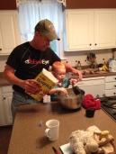 """Helping """"G-pa"""" make pancakes"""